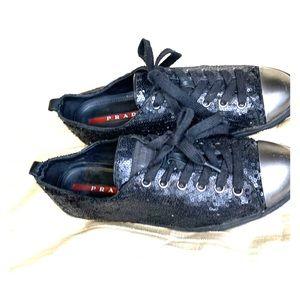 Prada Paillettes Sequin Cap Toe Sneakers Black 38